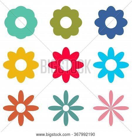 Flowers Icons Set Isolated On White Background. Vector Illustration
