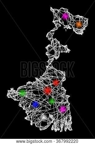 Web Mesh Vector Map Of West Bengal State With Glow Effect On A Black Background. Abstract Lines, Lig