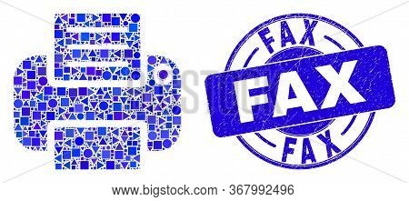 Geometric Printer Mosaic Icon And Fax Seal Stamp. Blue Vector Round Distress Seal Stamp With Fax Tex