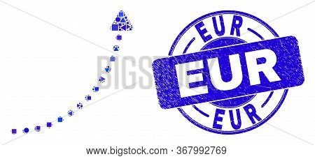 Geometric Up Trend Arrow Mosaic Pictogram And Eur Watermark. Blue Vector Round Distress Stamp With E