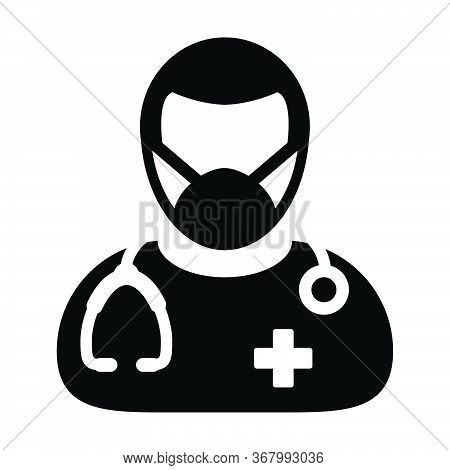 Doctor Icon Vector With Surgical Face Mask Male Person Profile Avatar Symbol With Stethoscope For Me