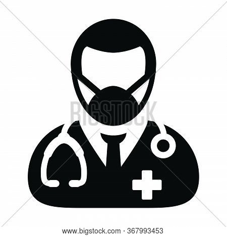 Physician Icon Vector With Surgical Face Mask Male Person Profile Avatar Symbol With Stethoscope For