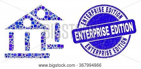 Geometric Museum Buildings Mosaic Icon And Enterprise Edition Watermark. Blue Vector Round Scratched