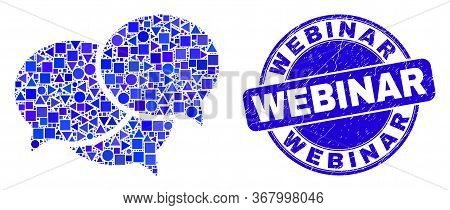 Geometric Webinar Messages Mosaic Pictogram And Webinar Seal Stamp. Blue Vector Round Grunge Seal St