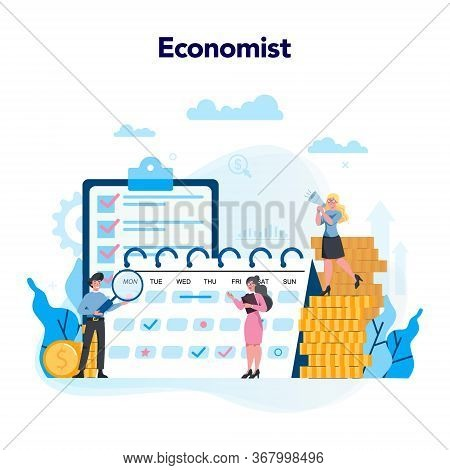 Economists Concept. Business People Work With Money
