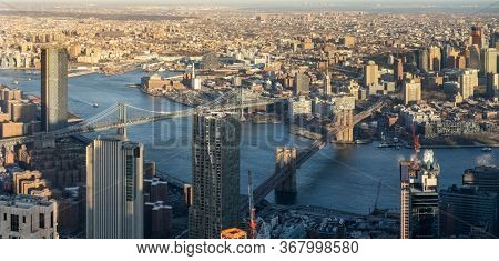 Panoramic High Angle view landscape of New York downtown and brooklyn cityscape of Brooklyn bridge and Manhattan bridge in New York City, New York State NY , USA