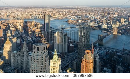 Panoramic High Angle view landscape of New York downtown and brooklyn cityscape of Brooklyn bridge Manhattan bridge and Williamsburg bridge in New York City, New York State NY , USA