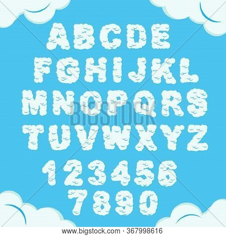 Cloud Font. Sky Alphabet. Cloudy Chubby Letters And Numbers. Heaven Fluffy Typeface. Vector
