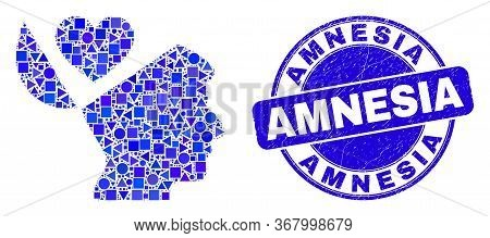 Geometric Favourites Open Mind Mosaic Icon And Amnesia Stamp. Blue Vector Rounded Textured Seal Stam