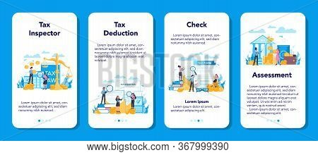 Tax Inspector Mobile Application Banner Set. Idea Of Accounting