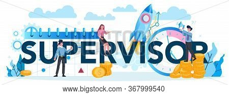 Supervisor Manager Typographic Header. Specialist Guiding Employees