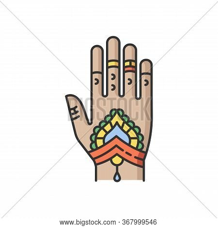 Mehndi Rgb Color Icon. Indian Tradition. Body Art. Decorative Designs On Hand. Henna Drawings. Tatto