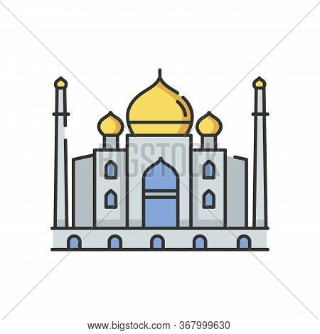 Taj Mahal Rgb Color Icon. White Marble Mausoleum. Indian Culture. Historical Monument. Mughal Archit