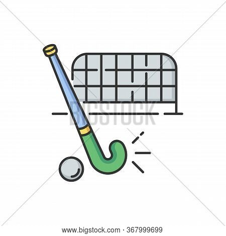 Field Hockey Rgb Color Icon. Indian National Game. Active Pastime. Team Sport. Sports Equipment And