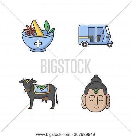 Indian Culture Rgb Color Icons Set. Ayurveda. Alternative Medicine. Auto Rickshaw. Tuk-tuk. Holy Cow