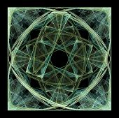 Abstract Fractal Art Green Square Scramble on Black Background poster