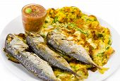 Fried Mackerel and Thai Omelet with Shrimp Paste Chilli Sauce poster