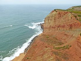 Aerial View Of The Cliffs And Beach At Gralha, Portugal