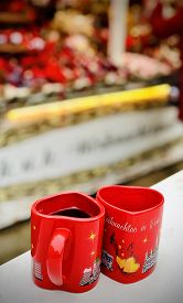 Hot Gluwein In Red Heart Shped Mugs In Vienna, Austria. Shot Taken At  16 December 2019 At The Chris