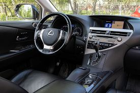 Novosibirsk/ Russia - May 03 2020: Lexus Rx 330,prestige Car Interior With Dashboard, Steering Wheel