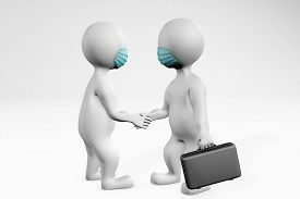 Fatty Men With Mask Doing Business Deal Making An Agreement With A Handshake. 3d Rendering