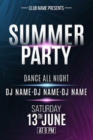 Summer Party Poster. Invitation Flyer. Modern Banner With Neon Light Effect And Tropical Palm Tree.