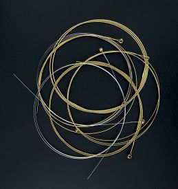 Electric Guitar Strings Isolated On Black Background