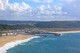 Nazare Harbour And Beach From Sitio, Portugal