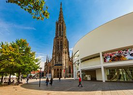 Ulm, Germany - September 25, 2014: Exterior Of The Ulm Cathedral, Germany, Europe. Church Facade. Tr
