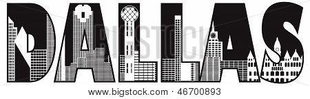 Dallas City Skyline Text Outline Illustration