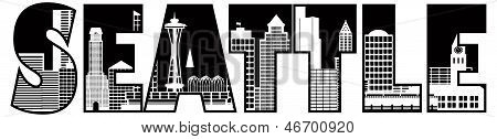 Seattle City Skyline Text Outline Illustration