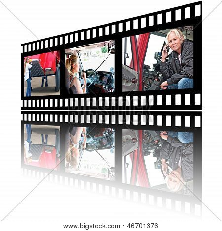 Film Stip Images Of Woman Truck Driver