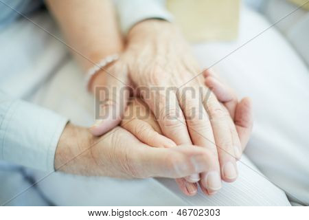 Close-up of senior male holding the hand of his wife