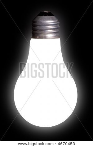White Lightbulb On Black