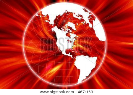 Earth With Red Fire Background