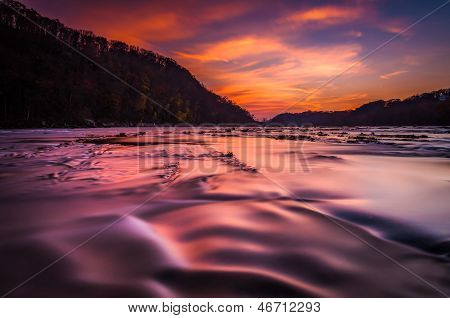 Long Exposure On The Shenandoah River At Sunset, From Harper's Ferry, West Virginia.