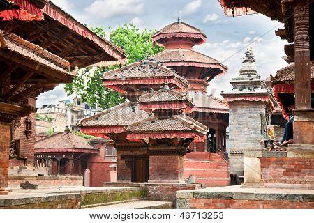 Inside of  Hanuman Dhoka, old Royal Palace, Durbar Square in Kathmandu,  Nepal. poster