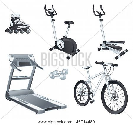 Fitness and sport equipment:  rollers, stationary bicycle, stepper, treadmill, dumbbells, bicycle. Isolated vector illustrations set