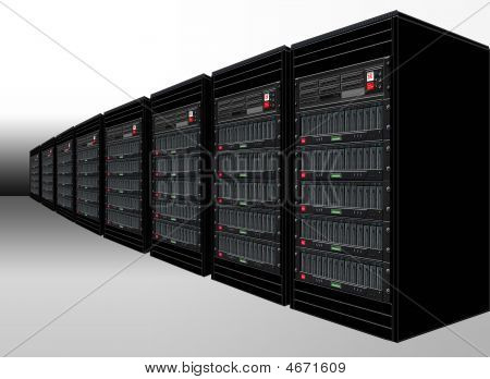 Illustration of cabinets with racked computer servers and storage poster