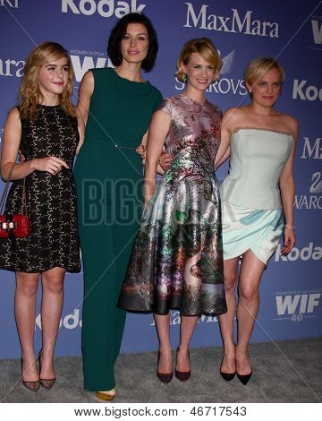 LOS ANGELES - JUN 12:  Kiernan Shipka, Jessica Pare, January Jones, Elisabeth Moss arrives at the Crystal and Lucy Awards 2013 at the Beverly Hilton Hotel on June 12, 2013 in Beverly Hills, CA