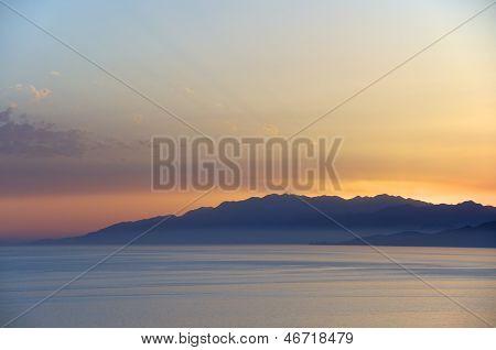The white mountains on Crete at sundown