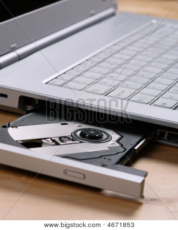 Laptop With Cd Draw Open