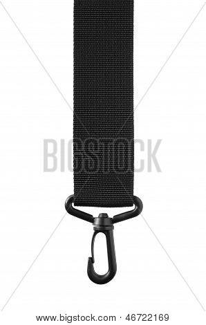 Black Belt Rope Strap Lanyard, Hanging Plastic Clasp Snap Latch Hook Carabiner, Isolated Macro