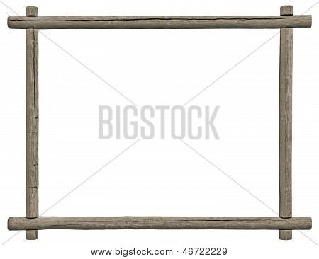 Blank Signboard Frame, Isolated Copy Space, Grey Wooden Texture