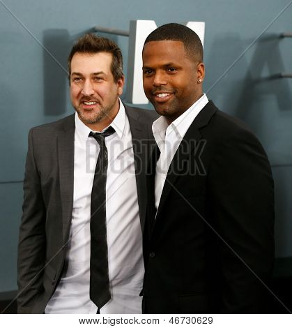 NEW YORK-JUNE 10: Singer Joey Fatone (L) and TV personality A. J. Calloway attend the world premiere of