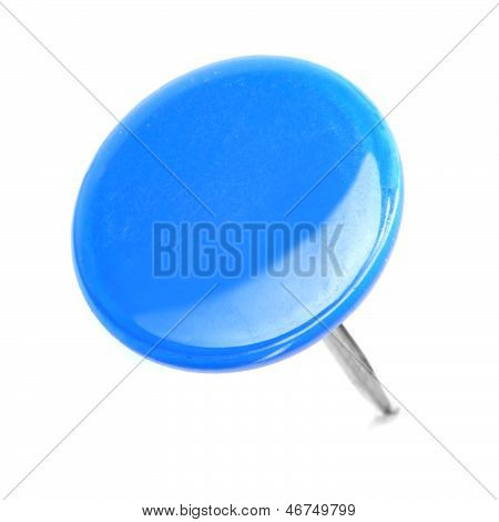 Close Up Of A Circle Blue Pushpin