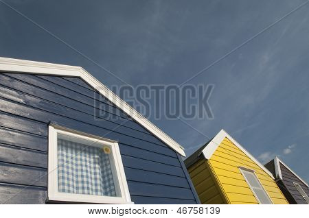 Blue And Yellow Beach Huts