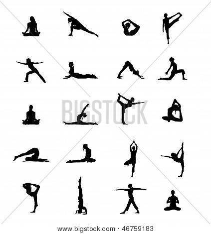 Set Of 20 Yoga Positions Black Vector Silhouettes Illustration