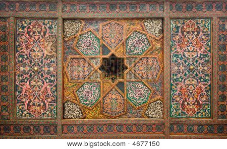 poster of Wooden ceiling oriental ornaments from Khiva Uzbekistan