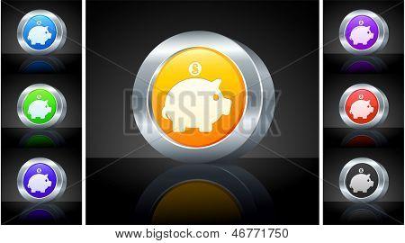 Piggy Bank Icon on 3D Button with Metallic Rim Original Illustration